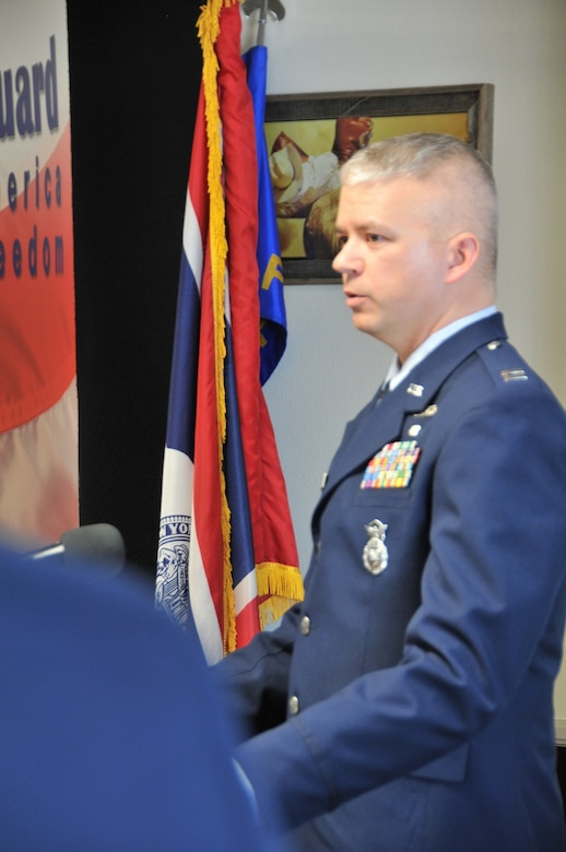 Air Force Capt. Sean DeVeau, incoming 153rd Security Forces Squadron commander, addresses the audience at the 153rd SFS change of command ceremony Feb. 2, 2014, Cheyenne, Wyo. (U.S. Air National Guard photo by Capt. Rusty Ridley)