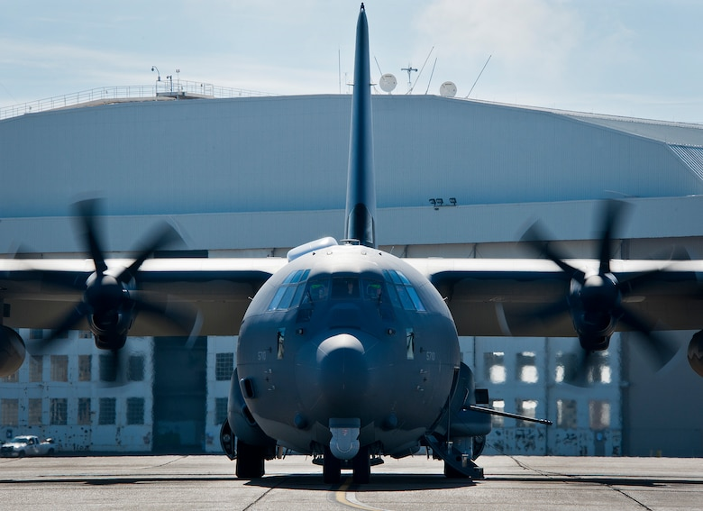 The newly created AC-130J Ghostrider awaits takeoff for its first official sortie Jan. 31 at Eglin Air Force Base, Fla. The Air Force Special Operations Command MC-130J arrived at Eglin in January 2013 to begin the modification process for the AC-130J, whose primary mission is close air support, air interdiction and armed reconnaissance. A total of 32 MC-130J prototypes will be modified as part of a $2.4 billion AC-130J program to grow the future fleet. (U.S. Air Force photo/Sara Vidoni)