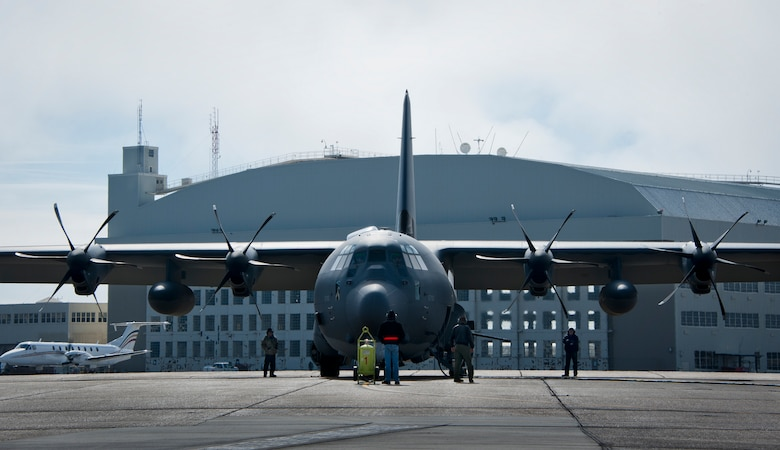 The aircrew from Eglin's 413th Flight Test Squadron readies the newly created AC-130J Ghostrider for its first official sortie Jan. 31 at Eglin Air Force Base, Fla. The Air Force Special Operations Command MC-130J arrived at Eglin in January 2013 to begin the modification process for the AC-130J, whose primary mission is close air support, air interdiction and armed reconnaissance. A total of 32 MC-130J prototypes will be modified as part of a $2.4 billion AC-130J program to grow the future fleet. (U.S. Air Force photo/Sara Vidoni)