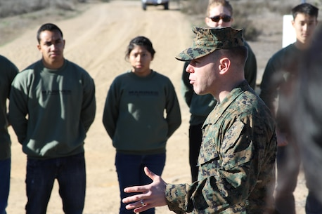 Maj. Brian Donlon, the commanding officer of Recruiting Station San Diego, briefs Officer candidates before a leadership reaction course aboard Marine Corps Base Camp Pendleton, Calif., Feb. 1.