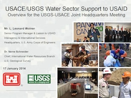 """USACE/USGS Water Sector Support to USAID,"" presented at the January 17, 2014 USACE-USGS Coordination Meeting."