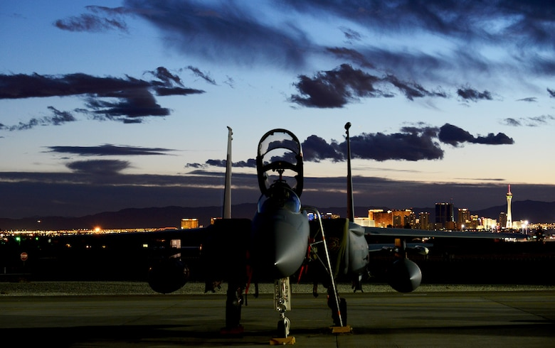 An F-15E Strike Eagle assigned to the 391st Fighter Squadron from Mountain Home Air Force Base, Idaho, sits on the flight line Jan. 31, 2014, at Nellis Air Force Base, Nev. The 391st FS is at Nellis AFB to participate in the premier combat exercise Red Flag 14-1 Jan. 27 to Feb. 14. (U.S. Air Force photo by Senior Airman Benjamin Sutton/Released)