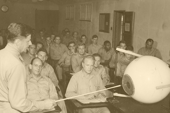 An Air Force officer delivers a lecture on ophthalmology using the giant model of the human eye as an instructional aid circa 1949. (courtesy photo)