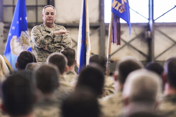 Air Force Chief of Staff Gen. Mark A. Welsh III addresses Airmen and families during an all call Feb. 3, 2014, at Joint Base Lewis-McChord, Wash. During the all call, Welsh discussed various topics including force management and modernization. (U.S. Air Force photo/Tech. Sgt. Sean Tobin)