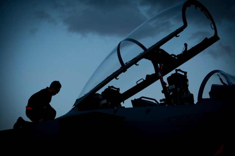 Senior Airman Aljon Alfonso performs pre-flight checks before his assigned F-15E Strike Eagle heads out for a night training mission during Red Flag 14-1, Jan. 30, 2014, at Nellis Air Force Base, Nev. Night missions have been integrated into Red Flag to prepare pilots and aircrews for missions in low-light environments. Alfonso is a crew chief from the 366th Aircraft Maintenance Squadron at Mountain Home Air Force Base, Idaho. (U.S. Air Force photo/Airman 1st Class Joshua Kleinholz)