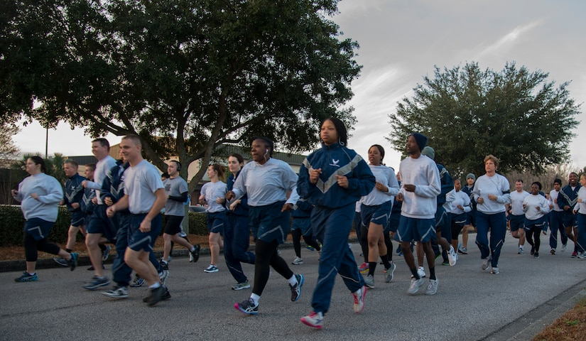 Members of Joint Base Charleston begin the Commander's Challenge 5K Run Feb. 7, 2014, on Joint Base Charleston – Air Base, S.C. The Commander's Challenge is held monthly to test Team Charleston's fitness abilities. (U.S. Air Force photo/ Airman 1st Class Clayton Cupit)