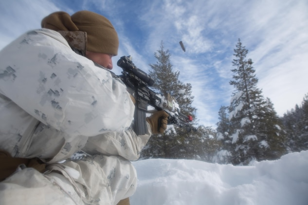 A Marine from Golf Company, 2nd Battalion, 2nd Marine Regiment, 2nd Marine Division at the enemy fires for other Marines to maneuver during an assault on an enemy position during the final six-day field exercise for Mountain Exercise winter training package at MCMWTC Bridgeport, Calif., Feb. 4, 2014. The Warlords and its attached units underwent the winter training package at MCMWTC to prepare for the upcoming a multi-lateral joint and combined exercise Cold Response, which will take place in March of 2014 in Norway.