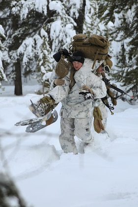 Lance Cpl. Jordan Gruskin carries Pfc. Michael Humer as a simulated casualty during an assault on an enemy position during the final six-day field exercise for Mountain Exercise winter training package at MCMWTC Bridgeport, Calif., Feb. 4, 2014. Gruskin is a fire team leader and Orlando native and Humer is and assaultman and Miami native. The Warlords and its attached units underwent the winter training package at MCMWTC to prepare for the upcoming a multi-lateral joint and combined exercise Cold Response, which will take place in March of 2014 in Norway.