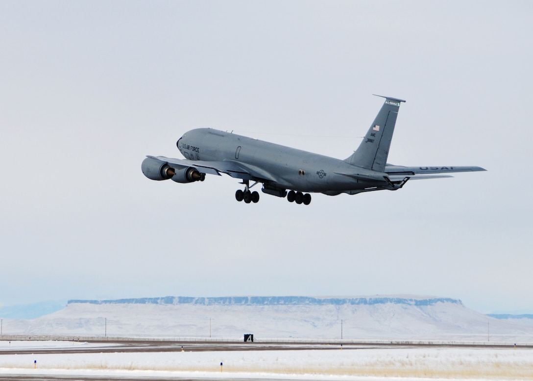 A KC-135 Stratotanker assigned to the 92nd Air Refueling Wing and the 141st Air Refueling Wing from Fairchild Air Force Base, Wash. takes off from the Great Falls International Airport runway. The aircraft was taking members of the 120th Civil Engineer Squadron, 219th RED HORSE Squadron and the 341st Civil Engineer Squadron to Tyndall Air Force Base, Fla. to participate in the Silver Flag exercise. National Guard photo/Senior Master Sgt. Eric Peterson.