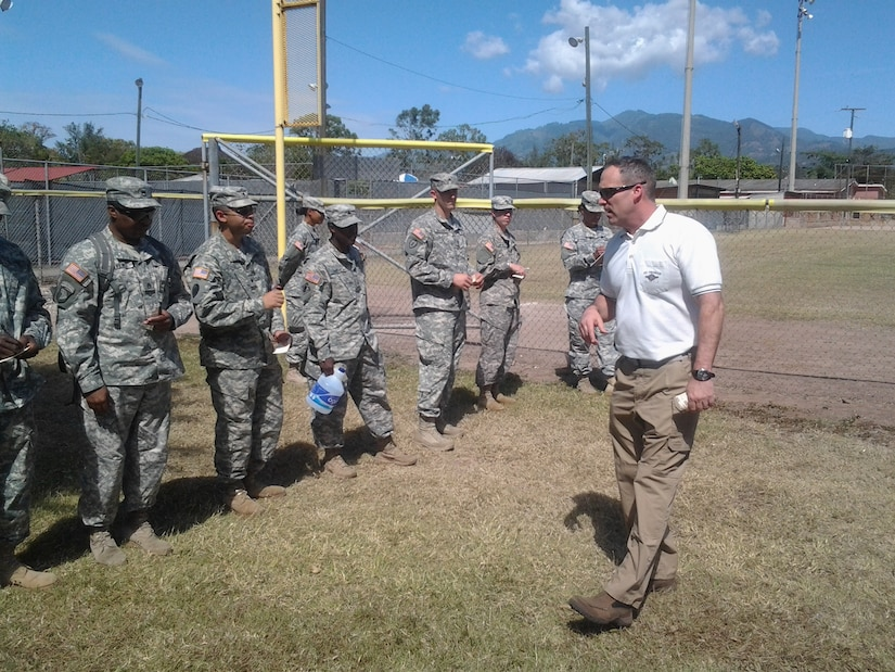 Eric Herr, U.S. Army South Mortuary Affairs Officer, instructs members of Joint Task Force-Bravo during a mortuary affairs course conducted at Soto Cano Air Base, Honduras, Feb. 4-6, 2014.  The course trained servicemembers in the proper handling, care, and retrieval of remains and personal effects in the event of a casualty.  (Courtesy photo)
