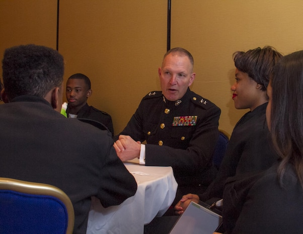 Major Gen. Mark A. Brilakis, commanding general, Marine Corps Recruiting Command, speaks to students at the All Service Mentorship Seminar here, Feb. 7. The seminar took place during the Black Engineer of the Year Awards conference at the Washington Marriott Wardman Park.