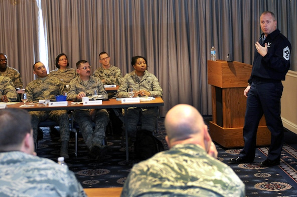 Chief Master Sgt. James Hotaling, Command Chief Master Sgt. of the Air National Guard, speaks with newly promoted Chief Master Sgts in the active duty Air Force about the role of the Air National Guard,Joint Base Bolling-Anacostia, Washington,  D.C.,  Feb. 6, 2014. (Air National Guard photo by Tech. Sgt. David Eichaker)