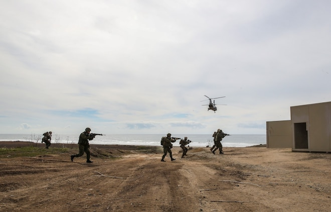 U.S. Marines with 1st Reconnaissance Battalion, 1st Marine Division, and soldiers from the Japan Ground Self-Defense Force begin their assault while conducting raid training during Exercise Iron Fist 2014 aboard Camp Pendleton, Calif., Feb. 7, 2014. Iron Fist is an amphibious exercise that brings together Marines and sailors from the 15th Marine Expeditionary Unit, other I Marine Expeditionary Force units, and soldiers from the JGSDF, to promote military interoperability and hone individual and small-unit skills through challenging, complex and realistic training.