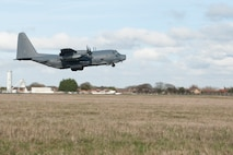 The last MC-130P Combat Shadow assigned to the 67th Special Operations Squadron departs RAF Mildenhall, England, Feb. 3, for the last time while assigned to the 352nd Special Operations Group. The MC-130P, tail number 66-0215, is the last of its kind to leave the European theater. Its departure marks the final step of Special Operation Command Europe's transition from the Combat Shadow to the MC-130J Commando II. (U.S. Air Force photo by Staff Sgt. Stephen Linch)