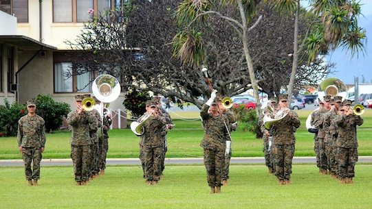 The Marine Corps Forces Pacific Band performs at the Relief and Appointment for the Headquarters & Service Battalion, Kaneohe Bay, Hawaii - January 28th, 2014