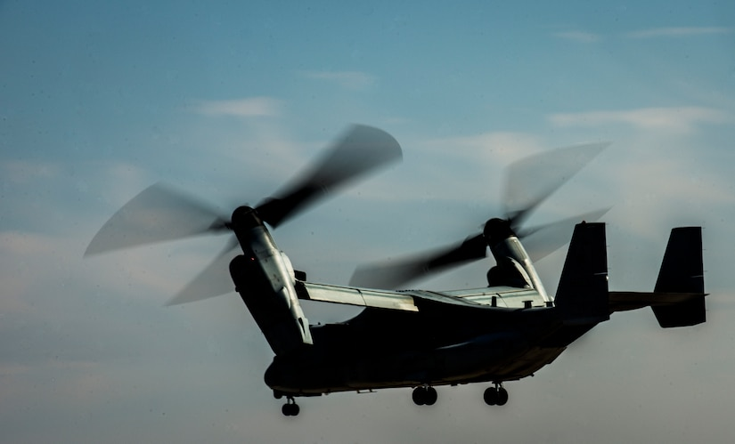An MV-22 Osprey from Marine Corps Air Station New River, N.C., takes off Feb. 10, 2014, from Joint Base Charleston – Air Base, S.C. The Marines landed at the base for a rest break before heading back to their home station. (U.S. Air Force photo/ Senior Airman Dennis Sloan)