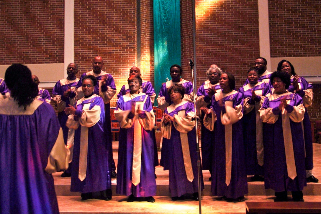 The Eglin Brotherhood Choir makes a joyful noise to celebrate America's African American culture at the 33rd Annual Liturgical Celebration honoring Black History Month Feb. 9 at St. Mary's Catholic Church in Fort Walton Beach, Fla. The theme of this year's event, hosted by the Catholic African-American Cultural Awareness Group of Okaloosa County, was being a light to the world and called for continued unity among all people, especially in reflection of how far America has come. (U.S. Air Force photo/Chrissy Cuttita)