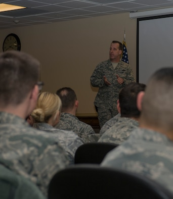 U.S. Air Force Col. Jay Bickley, 552nd Air Control Wing commander, speaks with Airmen from the 726th Air Control Squadron at Mountain Home Air Force Base, Idaho, Feb. 5, 2014. The 726th ACS is one of three USAF active-duty control and reporting centers. (U.S. Air Force photo by Staff Sgt. Roy Lynch/Released)