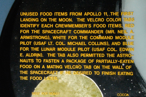 Space Foods exhibit in the Missile and Space Gallery at the National Museum of the United States Air Force. (U.S. Air Force photo)