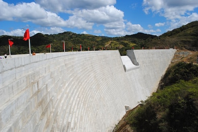 A view of the recently completed Portugues Dam as it looks before a dedication ceremony held Feb. 5. The dam, located near Ponce, Puerto Rico, is designed to reduce the impacts of flooding along the Portugues River.