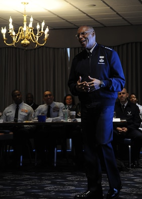Vice Chief of Staff of the Air Force Larry Spencer shares his leadership lessons with Airmen during the chief orientation seminar Feb. 4, 2014, at Joint Base Anacostia-Bolling, D.C. During the five-day event, attendees heard from Air Force senior leaders and discussed a range of topics from civilian personnel to being a resilient leader. (U.S. Air Force photo/Master Sgt. Tammie Moore)