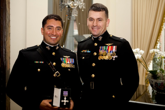 Capt. Brian Jordan and Lt. Col. William Chesarek , helicopter pilots, are the only two Marines to receive the British Distinguished Flying Cross since World War II. The award's precedence is equal to the Silver Star Medal. (U.S. Marine Corps photo by Sgt. Justin M. Boling/Released)