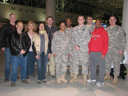 The Baltimore District FEST-A team deployed Feb. 8 from BWI Thurgood Marshall Airport to support a mission in Amman, Jordan. Supporting the team are Col. Trey Jordan (left), Baltimore District commander, and Lt. Col. Brad Endres, deputy district engineer. Maj. Timika Wilson, commander, will lead the nine-person team during the six month deployment.