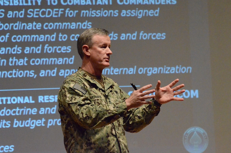 U.S. Navy Admiral William McRaven, Commander of U.S. Special Operations Command, speaks to members of 12th Air Force (Air Forces Southern) about the USSOCOM mission during a commander's call on Davis-Monthan AFB, Ariz., Feb. 7, 2014.  12 AF (AFSOUTH) serves as the air arm to U.S. Southern Command, a joint military command supporting U.S. national security objectives through the Western Hemisphere in cooperation with domestic and international partners, in order to foster security, ensure stability, and promote prosperity throughout Central and South America, the Caribbean and the global community.  (U.S. Air Force photo by Staff Sgt. Heather R. Redman/Released)