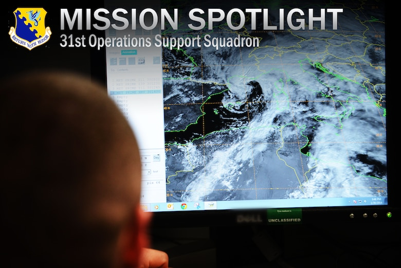 "First Lieutenant David DeMeuse, 31st Operations Support Squadron Weather Flight commander, observes cloud patterns over Italy using real-time satellite imagery, Jan. 30, 2014, at Aviano Air Base, Italy. The weather flight employs the ""eyes forward"" approach using real-time radar, satellite imagery, sensor readouts and visual observations to tailor weather conditions specifically for the 31st Fighter Wing. (U.S. Air Force photo/Airman 1st Class Ryan Conroy)"
