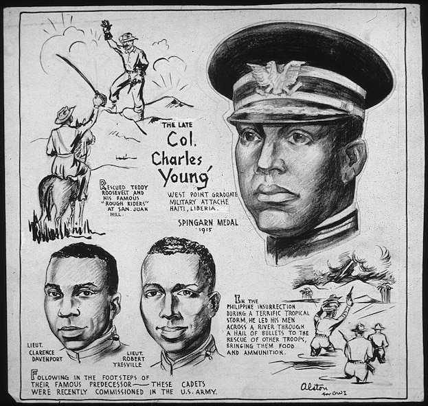 1943 cartoon about the life of Colonel Charles Young, by Charles Alston. Charles Young was the third African American graduate of West Point, the first black U.S. National Park Service superintendent, the first African American military attaché, and the highest ranking black officer in the United States Army until his death in 1922.