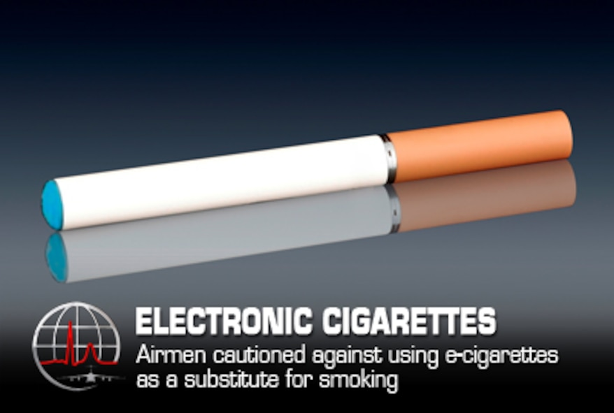 Electronic cigarette use is becoming a popular alternative to traditional cigarettes, but the upward trend is becoming a concern for health care providers. (Air Force graphic / Steve Thompson)