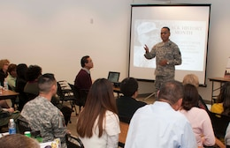 South Pacific Division Commander Brig. Gen. C. David Turner speaks to South Pacific Division and San Francisco District employees during the district's Black History Month event held at the Headquarters Building Feb. 11.