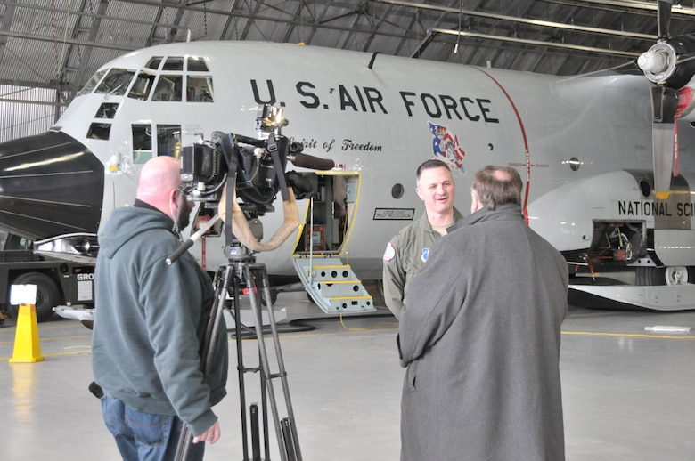 SCOTIA, NY - Col. Michael Steindl, Operations Group Commander at the 109th Airlift Wing, speaks to local reporters about the unique aspects of the polar missions conducted by the ski-equipped LC-130 aircraft.  This year with the ice runway in poor condition, the 109th and seven of it's 10 LC-130s are taking on the usual mission of larger jet aircraft, extending several weeks and bringing 1100 National Science Foundation employees and scientists to New Zealand from McMurdo station to end the summer season of Operation Deep Freeze.  (U.S. Air National Guard photo by Master Sgt. William Gizara/Released)