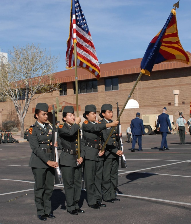 The Honor Guard team from Trevor Browne High School, show cased their pride and bearing at the 15th annual West-Mitchell Invitational Drill Meet, here at Phoenix Sky Harbor Air National Guard Base, Feb 15, 2014. (U. S, Air National Guard photo by 1st Lt. Rebecca Garcia/Released)