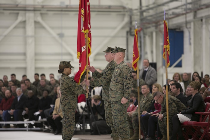 Col. Brian C. Murtha relinquished his duties as commanding officer of Marine Corps Air Station Beaufort, S.C., to Col. Peter D. Buck during their change of command ceremony at the new F-35 hangar here, Feb. 13. Murtha assumed command of MCAS Beaufort in May of 2011. During his time as commander, MCAS Beaufort has taken part in many operations and exercises including Operations Enduring Freedom and Iraqi Freedom.