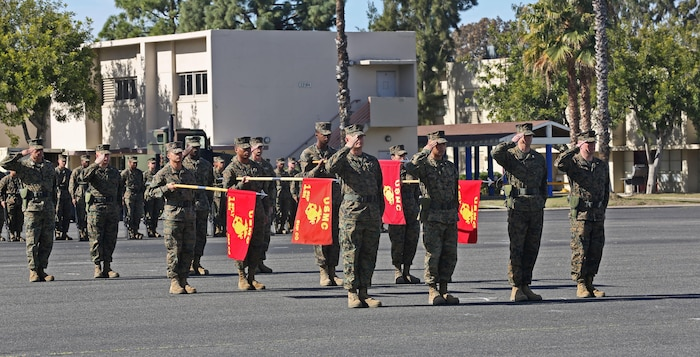 Marines with 1st Supply Battalion, Combat Logistics Regiment 15, 1st Marine Logistics Group, during a change of command ceremony aboard Camp Pendleton, Calif., Feb. 13, 2014. The ceremony was held to welcome Lt. Col. Tiffany Harris as she took command of 1st Supply Bn. Harris is a seasoned leader, boasting a wide variety of experience differing duties, to include services in support of building partner Nations capacity, to participating in United Nations peacekeeping as a major with United States Mission to the United Nations. The lieutenant colonel from Lancaster, Pa., promised to do everything she can to support the Marines of the battalion and keep the excellence that has been passed on to her by Lt. Col. Michael J. Fitzgerald.