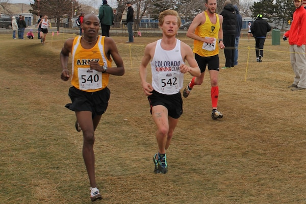 Army Specialist Elkanah Kibet Ft Bragg, NC wins men's gold at the 2014 Armed Forces Cross Country Championship held in conjunction with the USA Track and Field Cross Country Championship in Boulder, CO on 15 February.