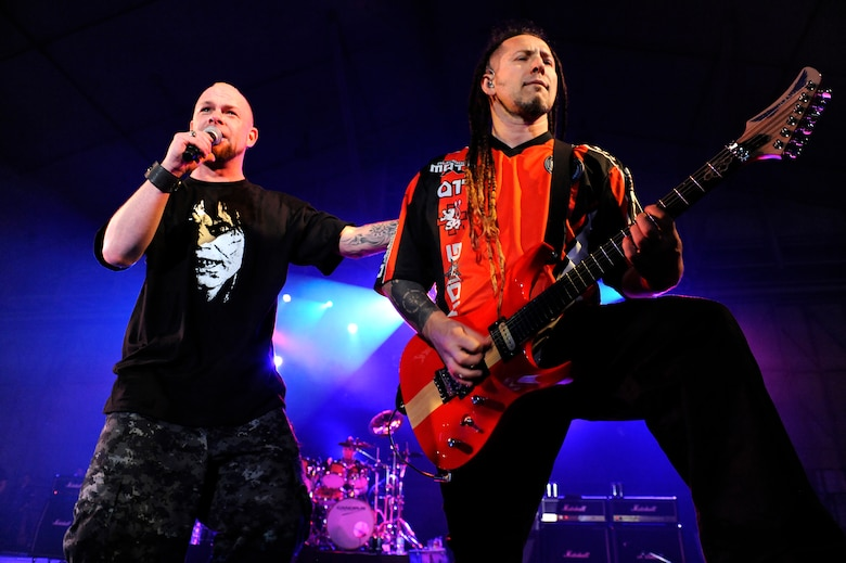 Heavy Metal Band Five Finger Death Punch Lead Singer Ivan Moody And Rhythm Guitarist
