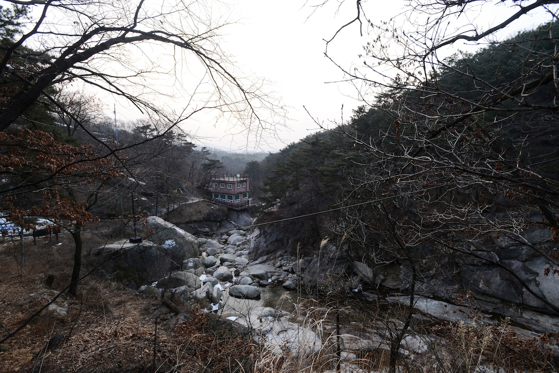 Bukhansan National Park, pictured here Feb. 16, 2014, in Seoul, Republic of Korea, houses numerous Buddhist temples and other man made structures in addition to the natural array of forest. The park is accessible via the Seoul metro system and public bus transit. (U.S. Air Force photo by Staff Sgt. Jake Barreiro)