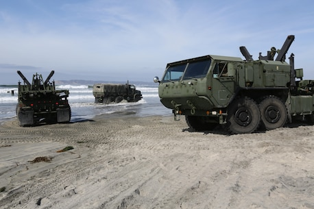 U.S. Marines with Combat Logistics Regiment 1 (CLR-1) operate Logistics Vehicle Service Replacement's (LVSR) during exercise Brilliant Scepter aboard Naval Amphibious Base Coronado, Coronado, Calif., February 18, 2014. Marines from CLR-1, Combat Logistics Battalion 5, and 7th Engineer Support Battalion worked along side naval units to conduct Maritime Prepositioning Force (MPF) training in preparation for their upcoming deployment to Jordan as part of Operation Eager Lion. MPF's serve as a naval power projection capability that supports the deployment and employment of Naval and Marine forces worldwide.