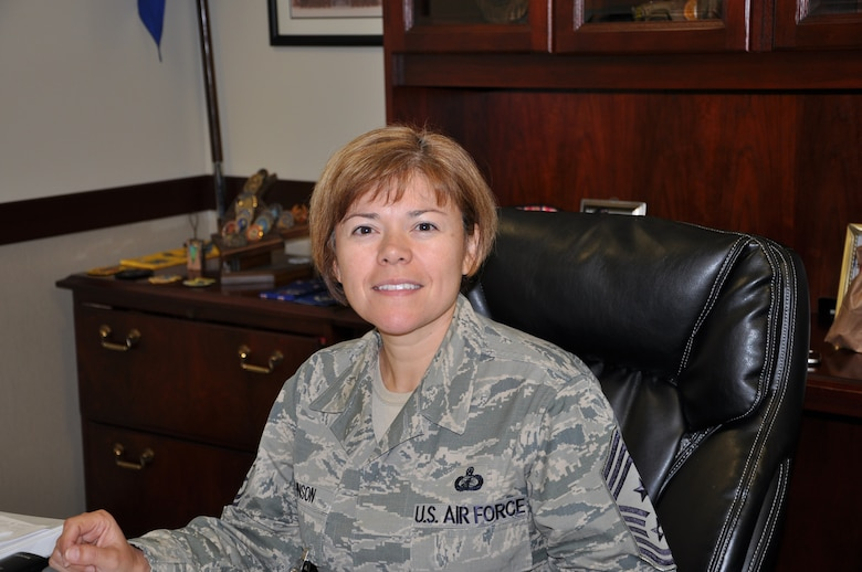 Chief Master Sergeant Angelica Johnson is SMC's command chief master sergeant.   (Photo by Alicia Garges)