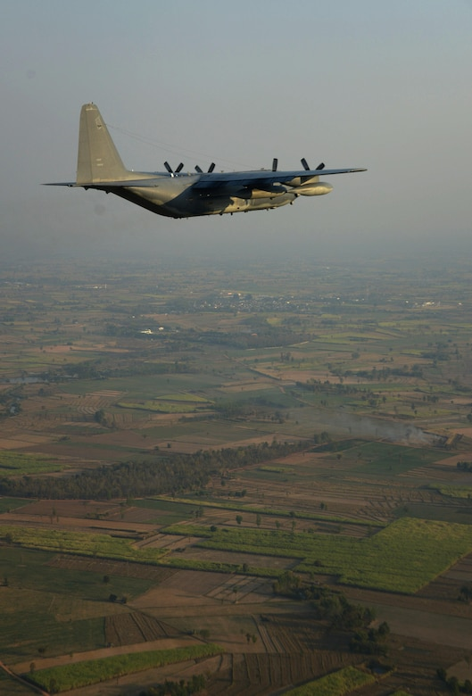 An MC-130P Combat Shadow flies near Udon Thani, Thailand.  The MC-130P Combat Shadows from the 17th SOS are part of the 353rd Special Operations Group detachment from Kadena Air Base, Japan, in Udon Thani, Thailand, to participate in Exercise Teak Torch.  (U.S. Air Force photo by Tech. Sgt. Kristine Dreyer)