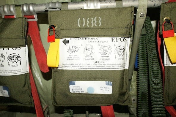 Bags containing an Emergency Passenger Oxygen System, or EPOS, are seen aboard an U.S. Air Force aircraft. (Air Force photo)