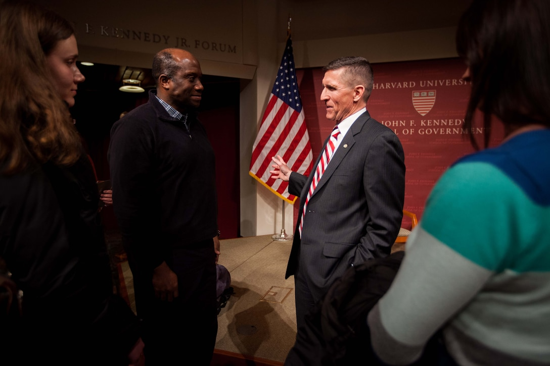 February 18th, 2014 - DIA Director Lt. Gen. Michael Flynn speaks with Forum participants and students of Harvard.