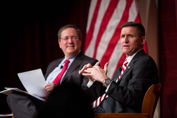 February 18th, 2014 - DIA Director Lt. Gen. Michael Flynn and the New York Times' David Sanger engage the audience at a discussion on the way forward for defense intelligence at Harvard's John F. Kennedy Jr. Forum.