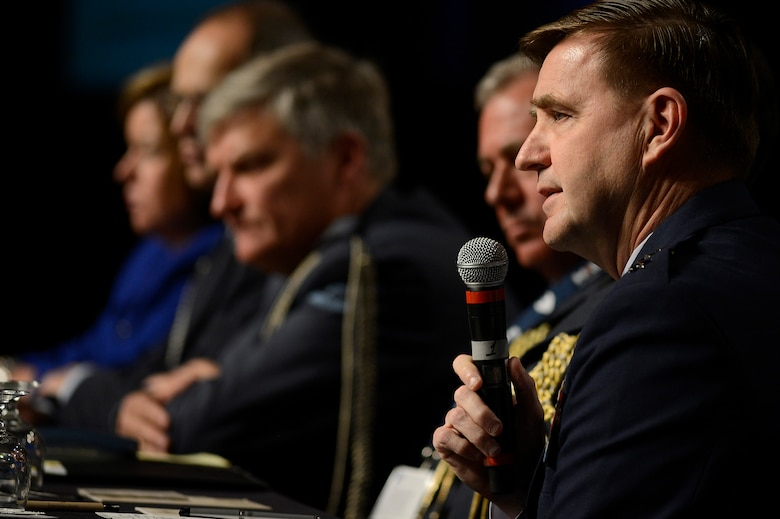 "Air Force Assistant Vice Chief of Staff Lt. Gen. Stephen Hoog answers a question during the panel discussion, ""Growing Partnerships,"" during the 30th Annual AFA Air Warfare Symposium and Technology Exposition, in Orlando, Fla., Feb. 20, 2014.  Hoog shared the panel with Deputy Assistant Secretary of the Air Force,International Affairs, Heidi Grant, German Air Attaché and Assistant Defense Attaché Col. Bernhard Altensberger, Royal Netherlands Air Force Air and Assistant Defense Attaché Col. Anton ven Drijver, New Zealand Defense Attaché Air Vice Marshall Graham Lintott and United Kingdom Air Attaché Air Commodore Kenneth McCann.  (U.S. Air Force photo/Scott M. Ash)"