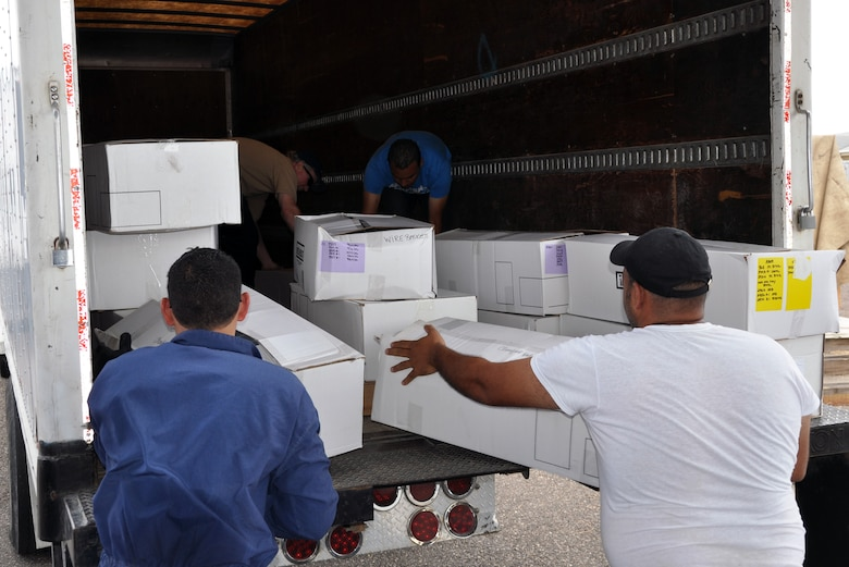 """More than 19,000 pounds of donated medical supplies and equipment were picked up from Soto Cano Air Base by the non-governmental organization """"Helping Hands for Honduras,"""" working in conjunction with the United States Agency for International Development (USAID), Feb. 19, 2014. The six pallets of medical supplies originally arrived at Soto Cano via C-17 aircraft as """"Denton Cargo,"""" Feb. 3, and were offloaded and staged for pickup by Joint Task Force-Bravo's 612th Air Base Squadron.  (U.S. Air Force photo by Capt. Zach Anderson)"""