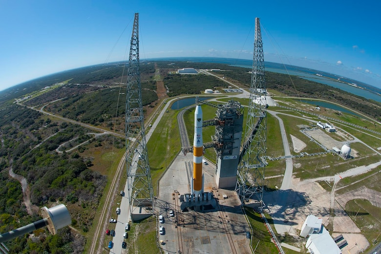 A Delta IV rocket sits on the launch pad awaiting the launch of the GPS IIF-5 satellite, Feb 20. (Photo by Ben Cooper, United Launch Alliance)