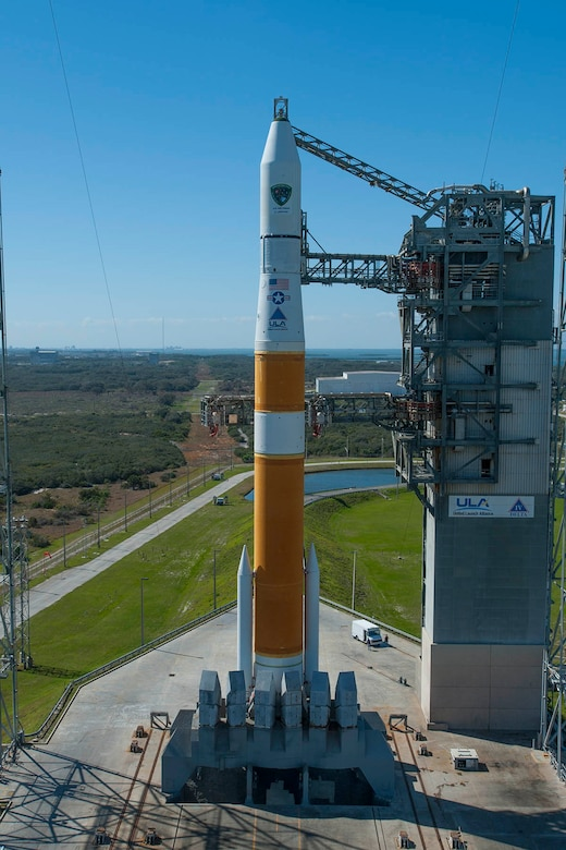 A Delta IV rocket sits on the launch pad awaiting the GPS IIF-5 launch, Feb 20. (Photo by Ben Cooper, United Launch Alliance)