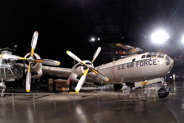 The Boeing WB-50D Superfortress on display in the Cold War Gallery at the National Museum of the U.S. Air Force. (U.S. Air Force photo)